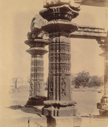 Close view of pillars of mandapa of the Ayeshvara Temple, Sinnar, showing details of carving